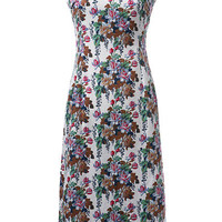 Floral Strappy Zippered Dress
