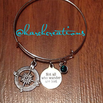 Not all who wander are lost bangle by Karchcreations609 on Etsy