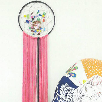 Dream Catcher- DreamCatcher- Unicorn- Wall Decor- Wall Accent- Bohemian decor- Boho Decor- Native- Home Decor- Hippie- Gypsy- Fringe- Pink