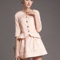 Pink Half Sleeve Button Peplum Top with Pleated A-Line Mini Skirt Set