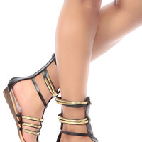 Black Faux Leather Caged Mini Gladiator Wedge Sandals