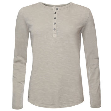 BUSHMAN DIANE WOMEN'S  CREAM/GREEN COTTON HENLEY LONG SLEEVE T-SHIRT