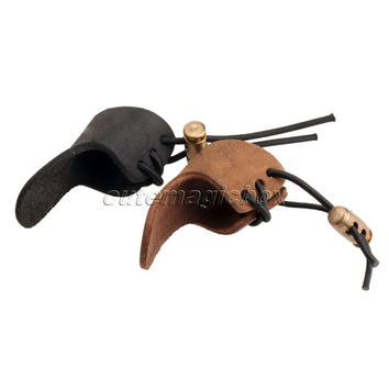Cow Leather 1 Finger Bow Arrow Broadheads Archery Hunting Shoot Glove Thumb Finger Tip Protector Guard Pull Archery Black Brown