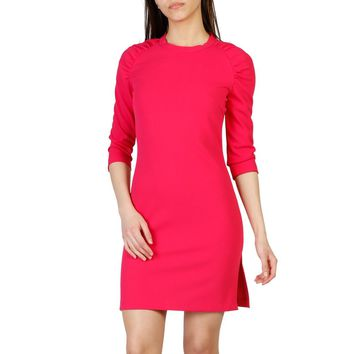 Imperial Pink Round Neck 3/4 Sleeve Dress