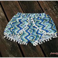 Pom Pom Shorts Boho Hobo Beach Hippie Chevron Hipster Rayon Dot Trimming Paisley Clothing Aztec Ethnic Ikat Sleepwear Underwear Trim