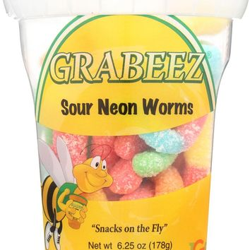 GRABEEZ SNACK CUPS: SNACK CUP WORMS SOUR NEON (6.300 OZ)