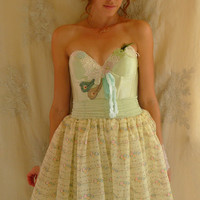 Faery Dress... Size Medium... Costume Festival Wedding Bridesmaid Bustier Eco Friendly Recycled