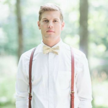 Leather Suspenders | Wedding Suspenders | Hand Stitched | Men's & Women's Suspenders | The Perfect Gift for Any Occasion | LS / Light Brown from Indiana Cool