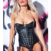 Allure Lingerie AL-11-1402 Faux Leather Studded Corset lined in Red Satin
