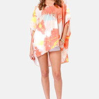 Insight Iso Kaftan Coral Dye Print Top