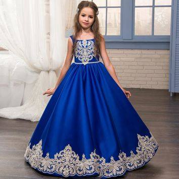 Blue Flower Girl Dress Spaghetti Straps Ball Gown First Communion 0-12 Years Old