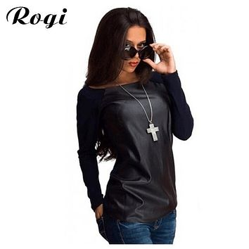 Rogi Blusas Femininas 2017 Women Long Sleeve PU Leather Shirt Wet Top Blouse Outerwear Jacket Personality Tunic Pullovers Tops