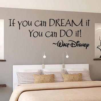 "English Quotes""If You Can Dream it"" Removable Vinyl Art Decal Funny Bathroom Wall Stickers"