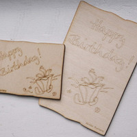 Happy Birthday Wooden Card with Colored Envelope, Gift Idea