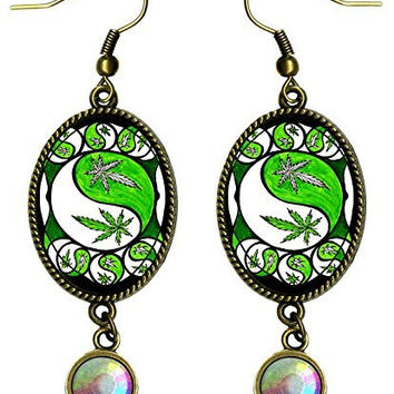 "Marijuana Yin Yang Peace Antique Bronze Gold Iridescent Rhinestone Long 2 1/2"" Dangling Earrings"