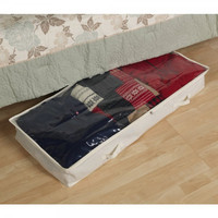 """Underbed Storage Bag - Canvas with Clear Top (White) (42""""l x 18""""d x 6""""h)"""