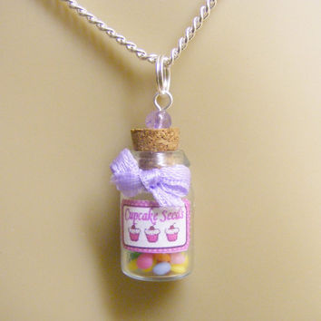Food Jewelry Cupcake Seeds Miniature Bottle Pendant -Mini Food Jewelry, Miniature Bottle Necklace,Cupcake Charm,Mini Bottle,Kawaii Necklace