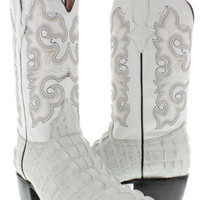 Men's crocodile alligator off white tail western cowboy boots rodeo j toe TWest