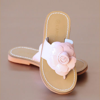 L'Amour Girls Patent Rosebud Flower Thong Sandal