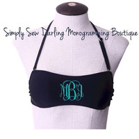 Monogrammed Black Bikini Bandeau Tube Top Swimsuit