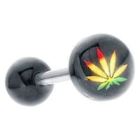 Yellow Red Green Acrylic Rasta Leaf Tongue Ring Barbell