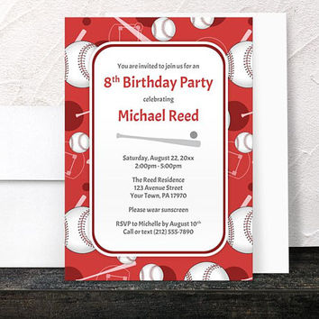 Red Baseball Birthday Party Invitations - Sports themed pattern with Baseballs Bats and Baseball Diamonds - Printed Invitations