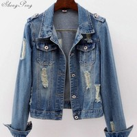 Womens denim jackets denim jacket for women jeans jacket women autumn light wash oversized denim jacket 6xl V1133