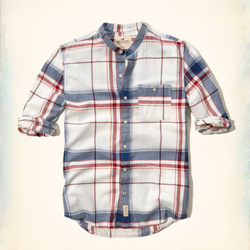 Banded Collar Brushed Cotton Shirt