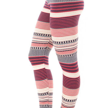 Navy and Pink Detailed Striped Knit Leggings
