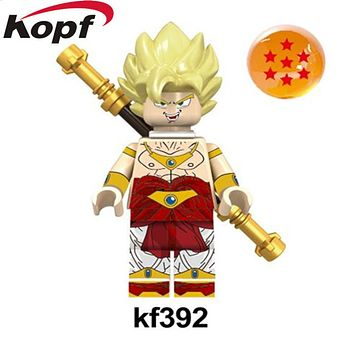 Single Sale Building Blocks Dragon Ball Z Figures Broly Super Sayayin Black Goku Vegeta Dolls Bricks Children Gift Toys KF392