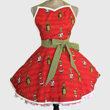 The Grinch apron - Dr. Seuss apron - Christmas apron - Holiday apron - Womens apron - Retro apron - Vintage style apron