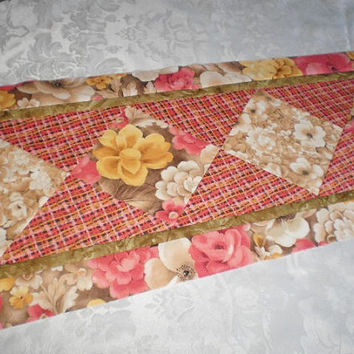 Table Runner - Table Linens - Quilted Table Topper- Handmade Linens - Floral Table Accent - Housewarming Wedding Gift - Gift For Home
