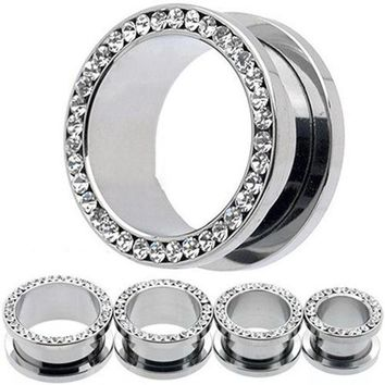 ac ICIKO2Q 1Pair Rhinestone Stainless Piercing Ear Tunnels Plugs Gauges Ear Stretching Kits New Arrival