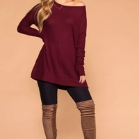 Maria Burgundy Waffle Knit Round Neck Sweater Top