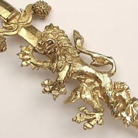 Vintage Heraldic Lion brooch pin, LARGE gold lion and sword brooch, vintage jewelry, Pittsburgh