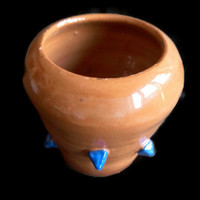 Ceramic Pot - Brown and blue decorative vase for plants- Small jar- Unique design.- Jar made with red clay with some blue peak.