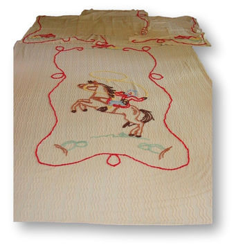 Vintage Western Cowboy Chenille Bedspread Blanket Quilt & Four Curtain Panels
