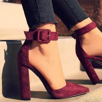 Pointed Toe Chunky Heel Women's Shoes 3 Colors
