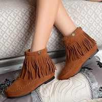 Womes boots Fashion Women Flat Fringed Faux Suede Ankle Boots Booties Oxfords Shaft Height Ankle Boot Flat Tassels Slip-on = 1946234756