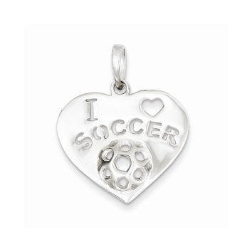 Sterling Silver Polished I Love Soccer Heart Pendant