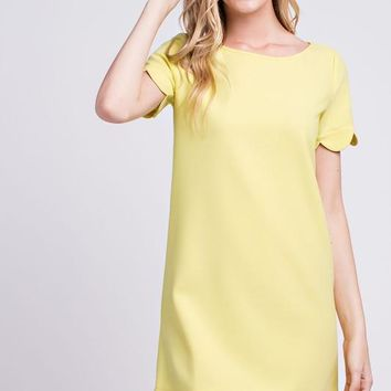 Scalloped Hem Short Sleeve Dress