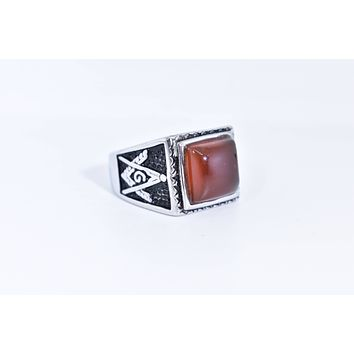 Vintage 1980's Gothic Silver Genuine Red Carnelian Free Mason Men's Ring