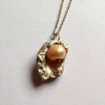 Silver Shell And Pearl Necklace Pendant - Sterling Silver Seashell - Freshwater - Peach - Pink - White