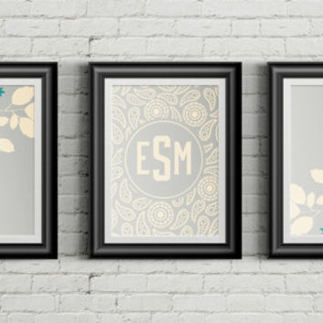 Custom Home Decor- Monogram Floral and Paisley Three Piece Print Custom Wall Art