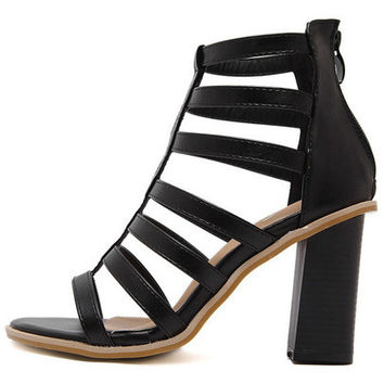 Black Fish Mouth Chunky Gladiator Sandals