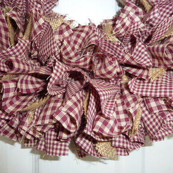 Small Rag Wreath Burgundy Fall Homespun Fabric Burlap Country