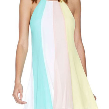 Color Block Spaghetti Strap Backless Dress