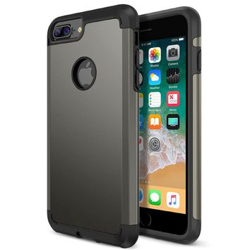 iPhone 8 Plus Case, Trianium Protanium Apple iPhone 8Plus Case (2017) with Heavy Duty Protection / Shock Absorption / Dual Layer TPU + Rigid Back Armor / Anti-Scratch / Reinforced Corner -Gunmetal