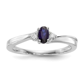 Sterling Silver Oval Blue Sapphire September Diamond Birthstone Ring