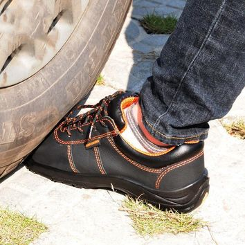 Men Soft Leather Steel Toe Safety Shoes Puncture Proof Breathable Durable Work Boots